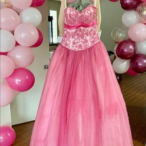 Pink Ball Gown $350 — Size 2 — Built in bra